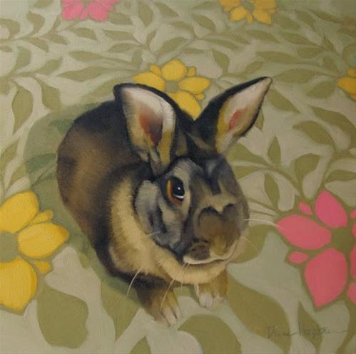 """""""Reluctant Gift a rabbit painting"""" original fine art by Diane Hoeptner"""