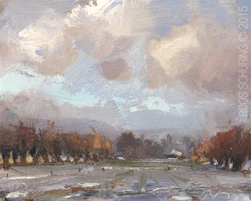 """""""Field, Willows and Snow"""" original fine art by Roos Schuring"""