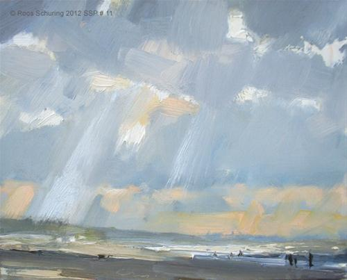"""Seascape spring # 11 Skyscape rays beach light and shadow"" original fine art by Roos Schuring"
