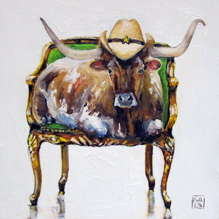 """The steer. Is here."" original fine art by Kimberly Applegate"