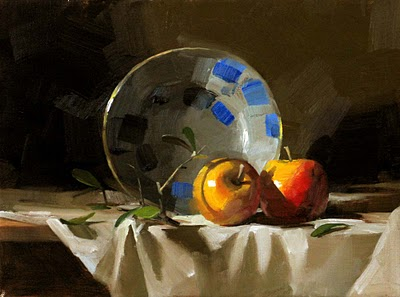 """""""Two Apples"""" original fine art by Qiang Huang"""