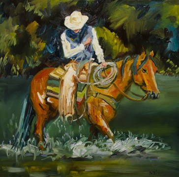 """WADING THE RIVER COWBOY EQUINE WESTERN ART by Diane Whitehead Artoutwest"" original fine art by Diane Whitehead"