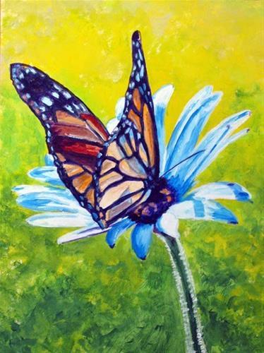 """""""On the White Flower"""" original fine art by Nan Johnson"""