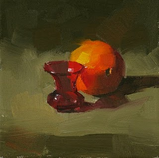 """""""Small Red Vase --- Sold"""" original fine art by Qiang Huang"""