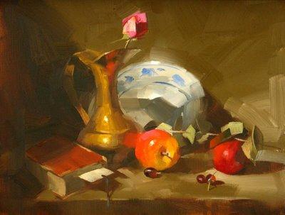"""Under the Coze Light"" original fine art by Qiang Huang"
