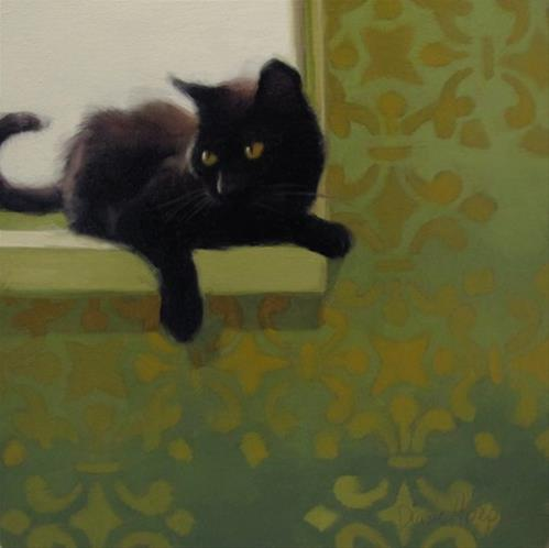 """""""Trying for perfection with Back Lit Black Cat"""" original fine art by Diane Hoeptner"""