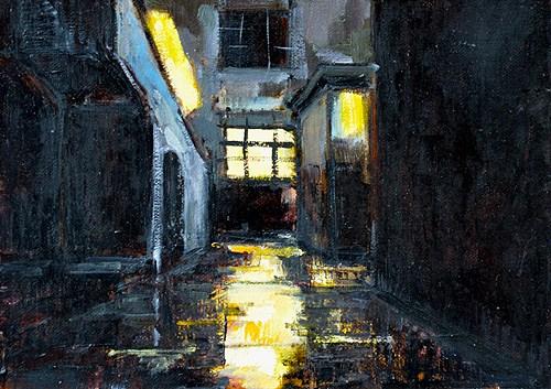 """San Diego Night Painting"" original fine art by Kevin Inman"