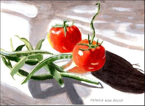 """Tomatoes and Beans"" original fine art by Patricia Ann Rizzo"