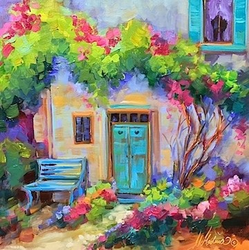 """Blue Hearts Cottage - Flower Painting Classes and Workshops by Nancy Medina Art"" original fine art by Nancy Medina"