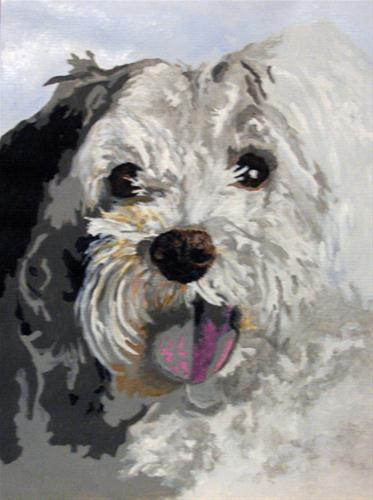 """White Fluffy"" original fine art by Nan Johnson"
