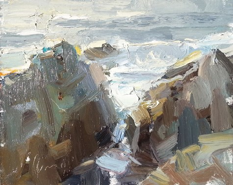 """""""Painting in California 11 Light and Rocks (sold)"""" original fine art by Roos Schuring"""