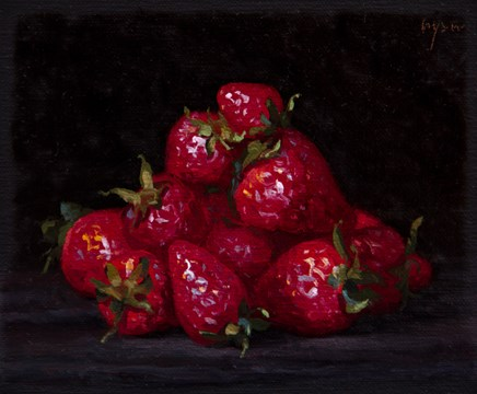 """Strawberries from Testaccio Market, Rome (Italy 2017 painting #1)"" original fine art by Abbey Ryan"