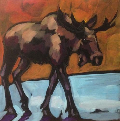 """Dark Moose Walking"" original fine art by Kat Corrigan"