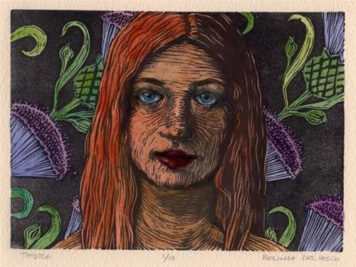 """Linocut: Thistle (& gift ideas for beginner printmakers)"" original fine art by Belinda Del Pesco"