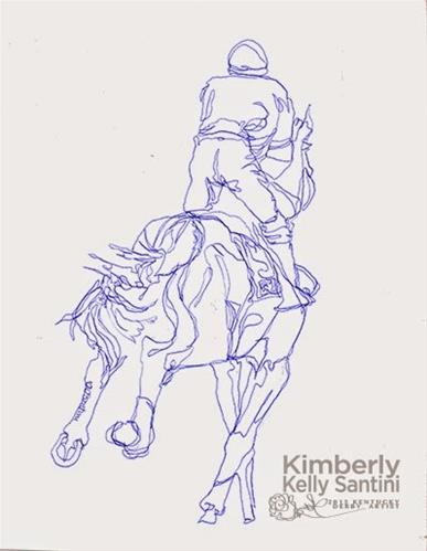 """Racehorse I, Contour Drawing"" original fine art by Kimberly Santini"