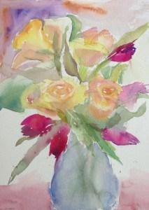 """Roses, Tulips & Football Weekends"" original fine art by Maria Peagler"