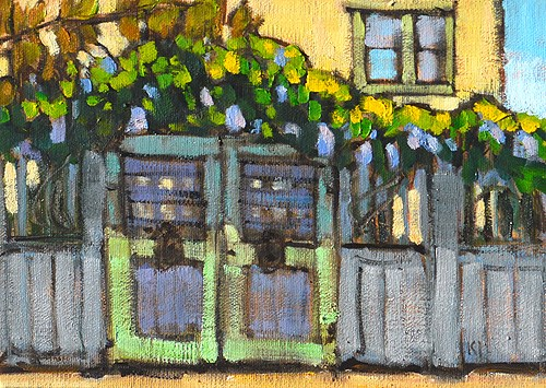 """""""Wisteria on the Fence, San Diego"""" original fine art by Kevin Inman"""