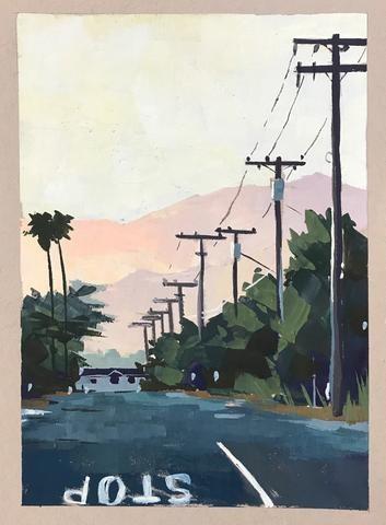 """""""Hills at Dusk"""" original fine art by Sharon Schock"""