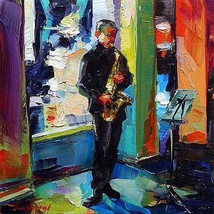 """""""Straßenmusiker"""" original fine art by Jurij Frey"""