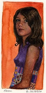 """Watercolor: eleven (& a daily painting by Brenda York)"" original fine art by Belinda Del Pesco"