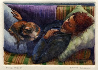 """Monotype & Watercolor: Movie Night"" original fine art by Belinda Del Pesco"