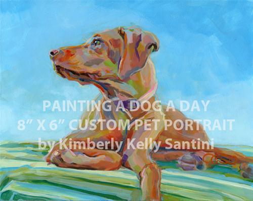 """Painting a Dog a Day Custom Pet Portrait"" original fine art by Kimberly Santini"