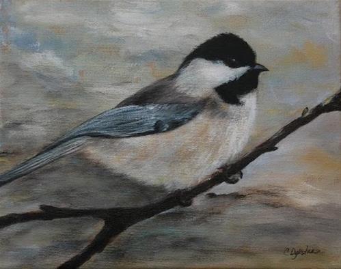 """Black Capped Chickadee"" original fine art by Cathy Dykstra"