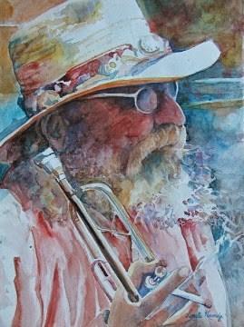 """Old Man Laguna and Horn"" original fine art by Reveille Kennedy"