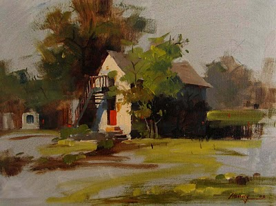 """Hill Country Cottage"" original fine art by Qiang Huang"