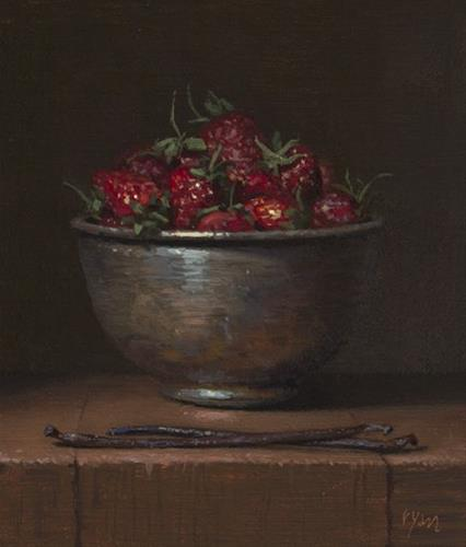 """""""Sneak Preview!  Still Life with Two Vanilla Beans and Strawberries in a Copper Bowl (Gallery Paintin"""" original fine art by Abbey Ryan"""