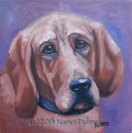 """Red – mini dog portrait"" original fine art by Nanci Fulmek"