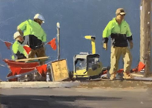 """MEN AT WORK"" original fine art by Helen Cooper"