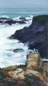 """Seagulls on Headlands"" original fine art by Mariko Irie"