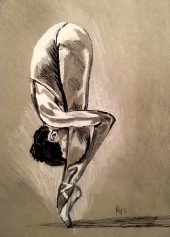 """The Ballerina Stretch"" original fine art by Piya Samant"