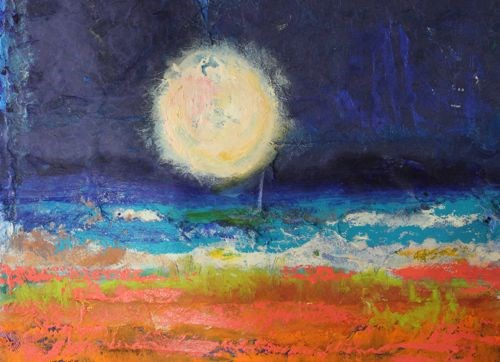 """""""Marvelous Night for a Moondance, Abstract Seascape Paintings by Arizona Artist Amy Whitehouse"""" original fine art by Amy Whitehouse"""