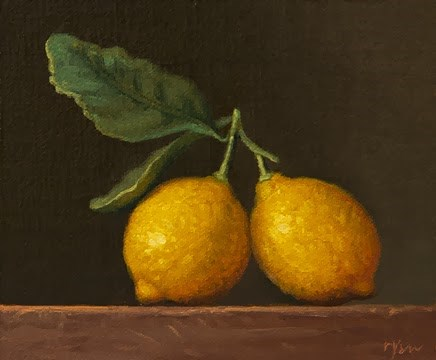 """""""Hand-picked Lemons with Leaves"""" original fine art by Abbey Ryan"""