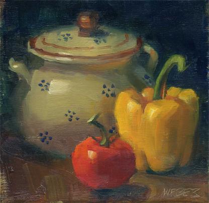 """Saucy"" original fine art by Kathy Weber"