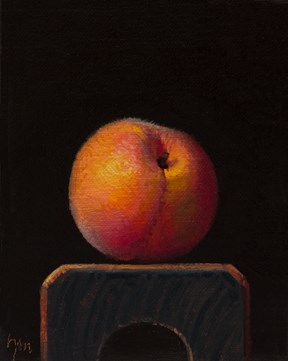 """Peach on a Wood Block  (+ a special announcement)"" original fine art by Abbey Ryan"