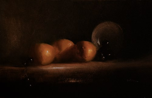 """""""Three Clementines with Grapes"""" original fine art by Neil Carroll"""