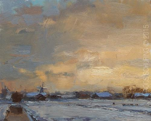"""""""Painting a Dutch Landscape in Winter"""" original fine art by Roos Schuring"""