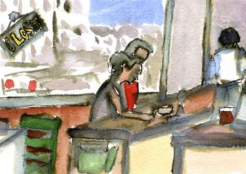 """Cafe One Brunch"" original fine art by Donna Crosby"