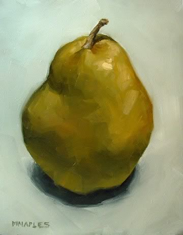 """Lone Green Pear"" original fine art by Michael Naples"