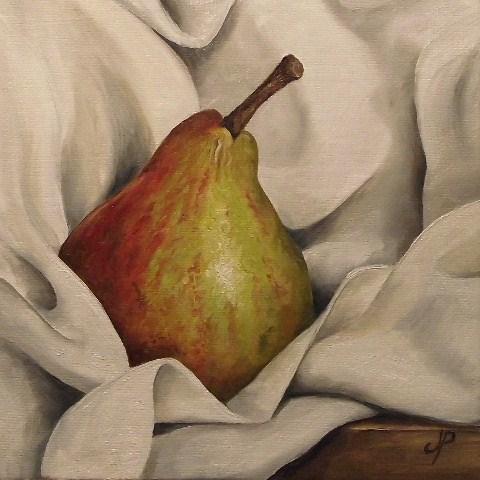 """""""Blush Pear on cloth"""" original fine art by Jane Palmer"""