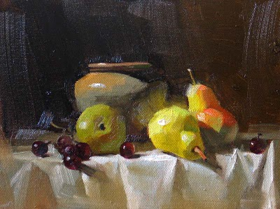 """""""Pears in Light --- Sold"""" original fine art by Qiang Huang"""