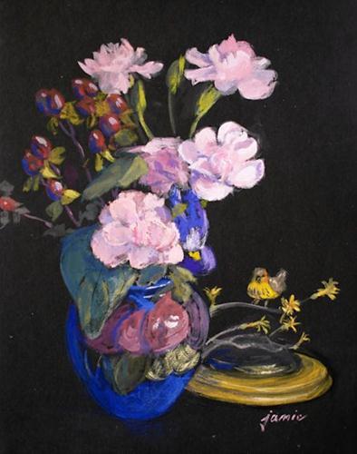 """Pink and Yellow Memories"" original fine art by Jamie Williams Grossman"