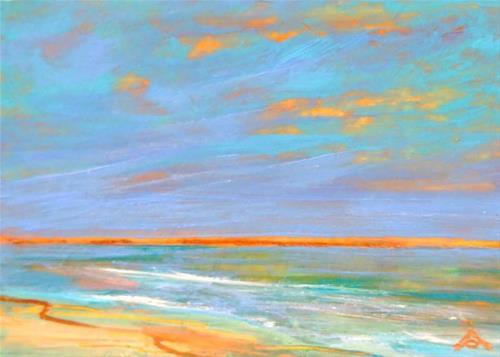 """""""3212 - SERENE BEACH - ACEO Series"""" original fine art by Sea Dean"""
