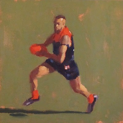 """FOOTBALL ( Australian Rules ) at the MCG - Melb FC #2"" original fine art by Helen Cooper"
