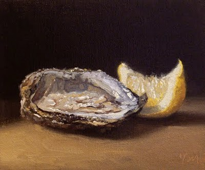 """Oyster with Lemon No. 2"" original fine art by Abbey Ryan"