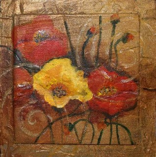 """Poppies and Swirls"" original fine art by Kara Butler English"