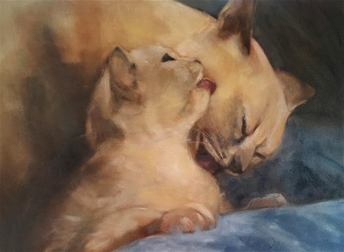 """""""Mother and baby"""" original fine art by Rentia Coetzee"""